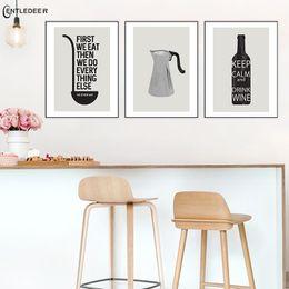 Os cartazes modernos da caneca de café preto e branco e a arte impressa da parede da pintura da lona são usados na cozinha do café para a decoração Home de