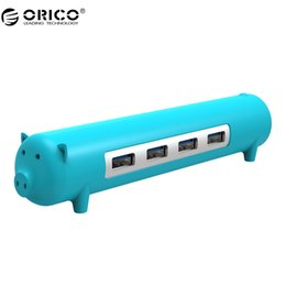 Wholesale Usb Otg Port - ORICO 4 Ports USB 3.0 Cute Pet-shape HUB 5Gbps With OTG Function 100 Date Cable Aluminium Alloy Silicone For Mac Windows Linux