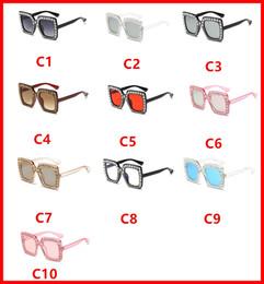 Wholesale Diamond Frame Sunglasses - Lady Polarized Sunglasses Square Diamond Reflective Glasses Colorful Fashion Anti-UV UV Grade UV400 Sunglasses Multiple Style