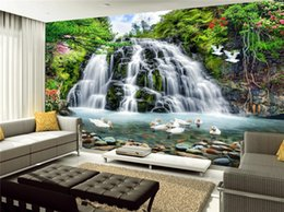 fondos de pantalla hermosa naturaleza Rebajas Custom 3D Mural Wallpaper para Wall Beautiful Nature Landscape Photo Waterfall Ducks Wall para Room Decor TV Sofá Telón de fondo