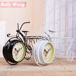 Wholesale Basket Antique - SullyWong Freeshipping vintage iron bicycle with basket desktop clock silent clock movement craft home decor Idea home watch