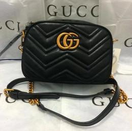 Wholesale Interior Locks - Marmont web shoulder bags women luxury brand crossbody bag chain messenger bags fashion Genuine Leather handbags purse 2018 free shipping