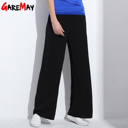 Wholesale Women Straight Elegant Black Pants - GAREMAY Summer Wide Leg Pants Women Causal Black High Waist Womens Trousers Pantanloni Donna Loose Elegant OL Work Pants Mujer