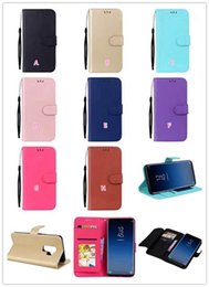 Wholesale Iphone Flip Cover Case - Fashion Multifunction Leather Wallet Case For Iphone X 8 7 6 6S Galaxy S9 Plus S8 Frame Card ID Card Slots Flip Cover Pouch Kickstand Strap
