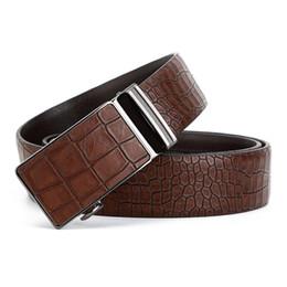 Wholesale wholesale faux crocodile leather - Luxury Designer Men's Leather Belts, Faux Crocodile Striped Strap Automatic Buckles Belt Mens Belts Luxury Leather Designer B10