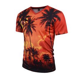Wholesale Island Wholesalers - 2018 Summer Men's T-shirt New Fashion Coconut Island 3d Printing T Shirt Men V Neck Short Sleeve Slim Fit Casual Mens Shirt 3XL