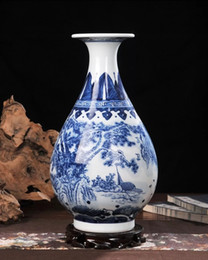 Wholesale Hand Painted Art Ceramics - Ceramic vase hand-painted blue and white porcelain home decoration living room antique China decorative arts and crafts.