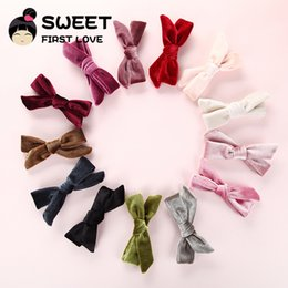 Wholesale hairclips for women - 13 pcs lot New Velvet Bows Hair Clips Fashion Bowknot Hairclips For Women Girls Hair Accessories Lovely Bow Barrettes