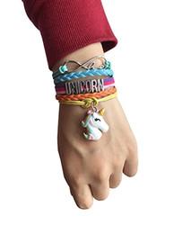 Kundenspezifischer Buchstabe-Mädchen-Unendlichkeits-Liebes-Einhorn-Armband-Buchstabe-Einhorn-Pferd Charme-Flechten-Verpackung Multilayer-Armband-Armband-Manschette-Art- und Weiseschmucksachen von Fabrikanten