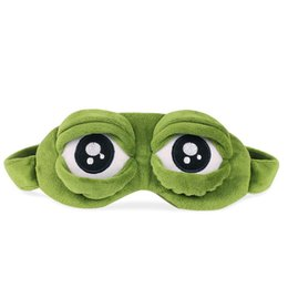 Wholesale frog plush animal - Cartoon Eye Mask Funny Eyeshade Sad Frog Patch Sleeping Blinkers Cute Anime Gift 3D Cover Plush Green 7 5mq V