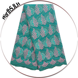 tecidos africanos alaranjados do laço Desconto Aso Ebi Africano Voile Tecido de Renda 2018 de Alta Qualidade Laranja Tecido de Renda de Algodão Suíço Verde Teal Grande Nigéria Rendas Tecidos