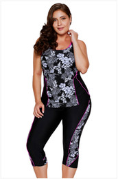 Wholesale Floral Tankini Top - 2 PCS Sleeveless Floral Padded Tankini Tank Top and Cropped Pants Bottom Wetsuit Swimsuit Set 410443
