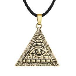 Canada 5 pcs / lot Egypt Egypt Egypt Pyramide Tout-Regardant Mal Oeil Illuminati Antique Argent Charme Pendentif Collier Pour Hommes Garçons Mode Bijoux cheap egypt pyramids Offre