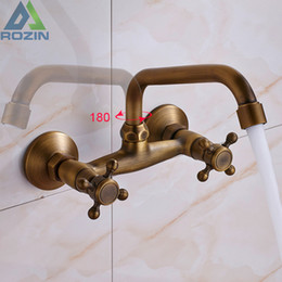 Wholesale Antique Bathroom Wall Faucet - Antique Brass Kitchen Sink Faucet 360 Rotate Hot and cold Bathroom Kitchen Mixer Mop Pool Taps