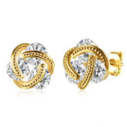 Wholesale Price Cubic Zirconia - Wholesale Low Price 18K Gold Plated 4A Zircon Stud Earrings Woman Girl Fashion Party Jewelry Wedding Gifts Free Shipping