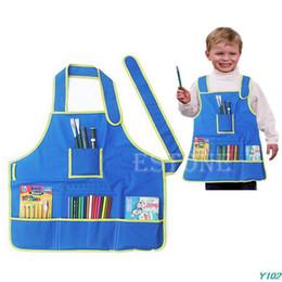 Blouse de tablier d'artisanat des enfants Y102 avec 4 poches pour peindre la classe d'art d'école d'enfants ? partir de fabricateur
