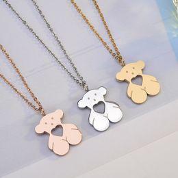Wholesale rose gold pearl necklace - Drop shipping 316L Titanium Steel Cute bears hearts charms Pendant Link chain Necklace Gold Silver Rose gold Colors El oso de collar