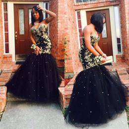 Argentina Custom Made Gold Applique Negro Tulle Sirena Vestidos de noche elegantes y largos 2018 Sweetheart African Beaded Prom Dresses Suministro