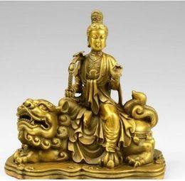 Leones de bronce online-10 Tibet Brass Ruyi Manjusri Kwan-yin Guanyin Bodhisattva Fu Foo Dog Lion Statue
