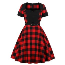 gilet manchon Promotion Vintage gothique bureau lady élégante taille plus robes femmes coton à carreaux bouton fermeture à glissière grandes tailles femme mode robe rouge