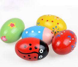 artigos de plástico Desconto Crianças coloridas De Madeira Maracas Bola Bebê Criança Instrumento Musical Percussão Egg Shaker Crianças Fun Toy Presente Ovo Musical