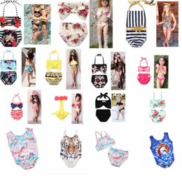 Wholesale Animal Suits - KIDS INS Unicorn Girls Floral Swimwear Swimsuit Clothing Two-Pieces Bikinis Beach Bathing Suit One-Pieces Beachwear Bikini Suit KKA4511