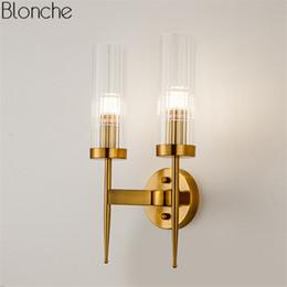 Lampara de pared dorada online-Poste lámpara de pared de oro moderna llevó la luz de la pared del espejo lámpara de cristal aplique para el dormitorio cocina escalera accesorios para el hogar decoración industrial