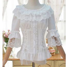 blusas victorianas Desconto Blusas brancas 2017 Do Victorian LaceChiffon Ruffled Gola Metade Flare Manga Gothic Mulheres Camisa Blusa Camisa Do Espartilho Vitoriano