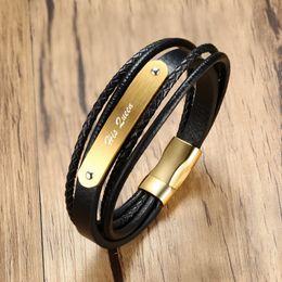 Fascette di gioielli a più strati online-Personalizzato in pelle da uomo tessuto braccialetto multi Strand tono oro nero chiusura magnetica uomini braccialetto brackelts gioielli maschili brazalet
