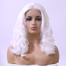piste africaine sans glueless Promotion Perruques cosplay synthétiques de cheveux blancs de couleur blanche avec la partie centrale haute température sans colle perruques de dentelle pour femmes afro-américaines