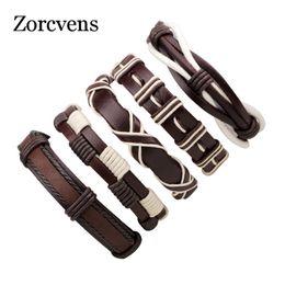 Wholesale Multiple Chain Bracelet - ZORCVENS Vintage Fethers Bracelets & Bangle Boho Multiple Layers Leather Bracelet Handmade Female Punk Jewelry for Women Man