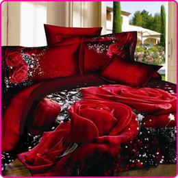 conjunto rojo lecho de edredón de la boda Rebajas Unihome Conjunto de ropa de cama de rosa roja 3D Ropa de cama de boda única Queen Size 4PCS Edredón / edredón de lino de algodón Juegos de fundas de edredón