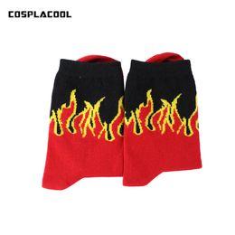 Wholesale Mens Funny Socks - European US Fashion Street Red Yellow Flame Pattern Meias Masculino Mens Hip Hop Skateboard Socks Calcetines Funny Crew Socks