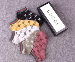 Wholesale underwear women fashion brand - New GUc Socks for men women Antibacterial Cotton GG Ankle Socks 5 pairs WITH box luxury brand SEXY Socks Underwear