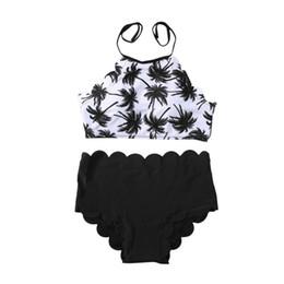 Costume da bagno bikini a vita alta Due pezzi Set di reggiseno a forma di albero di cocco Intimo femminile da spiaggia stampato da