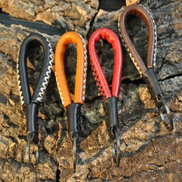 Wholesale lanyard loop - Handcraft Leather Rope Key Chain Fashion Loop Handmade Leather Unisex Braided Lanyard Keychain For Car Office Home Key Pendant Free DHL H21F