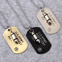 wholesale beads usa Promo Codes - Men's Bullet head Pendant Necklaces 3 colors USA army Military card Charm Bead chains For women Rapper Hip hop Jewelry