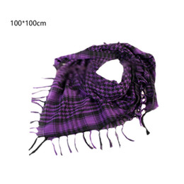 Wholesale shemagh tactical desert scarf - Fashion Cotton Thick Shemagh Tactical Desert Arab Scarves Men or Women Windy Military Windproof Plaid Printed Scarf 100x100cm