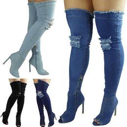 stivaletto blu sulle scarpe da ginocchio Sconti Moda Blue Hole Jeans sexy Stivali tacco alto sopra il ginocchio 2017 Stretch Boots Open Toe Denim Thigh