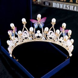 Wholesale Wedding Bridal Tiaras Butterfly - Butterfly Pearls 2018 New Bridal Rhinestone Head Pieces Crystal Wedding Party Headbands Tiaras Crowns Prom Evening Hair Accessories