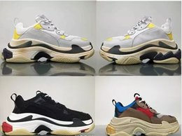 Wholesale Vintage Bl - FW Wholesale Retro BL Triple S Sneaker Mens Fashion Vintage Kanye West Old Grandpa Trainers Casual Shoes Size 36-46 With Box