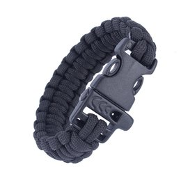 Wholesale Military Paracord Bracelet - Military Army Camping Hiking Climbing Paracord Bracelet Survival Gear Kit Whistle Lifesaving Braided Rope military Wrist Band