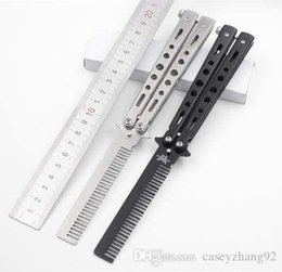 Wholesale Balisong Knife Comb - High quality!Stainless Steel Pro Salon Stainless Steel Folding Practice Training Benchmade Balisong Style Knife Comb Tool Black Silver Cool