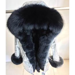 Donne cappotti di volpe d'argento online-Giacca in vera pelliccia di volpe argentata con cappuccio lunga casual parka da donna giacca da cappotto in vera pelliccia di procione invernale invernale