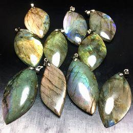 Wholesale Labradorite Heart - 10pcs Wholesale beautiful natural quartz crystal labradorite pendant 925 Silver ornament blue yellow purple healing for gift