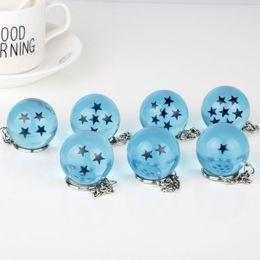 Wholesale Kawaii Plate - Blue Dragon Ball Creative Keychain 7 Stars Crystal Balls Key Ring Pendant Kawaii Novelty Design Keys Buckle 7yc Z