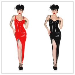 Wholesale sexy latex skirt - Latex Leather Skirt PVC Costume Sexy Lingerie Catsuit Leather Bodysuit Sexy Game Plus Size Jumpsuit Uniforms Dancing Clothing GC888