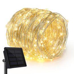 Chaîne de fée en Ligne-10M / 20M / 30/40 / 50M Énergie solaire 100/200/300 LED Guirlande de fées guirlande de sapin de Noël Chaîne Accueil décoration de Noël en plein air