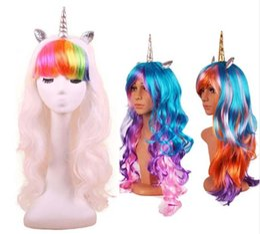 Parrucche di compleanno online-Lungo arcobaleno Unicorno Cosplay Parrucca Costumi di Halloween per le ragazze delle ragazze donne Natale Capodanno trucco regalo di compleanno Decorazione in maschera