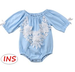 873a186d4c43 INS Baby Cotton Romper Toddler Girls Summer blue Lace flower Jumpsuit  Newborn Romper Clothing Outfits for 0-2T